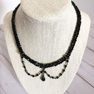 VTG 1928 Jet Black Faceted Crystal  Drop Necklace